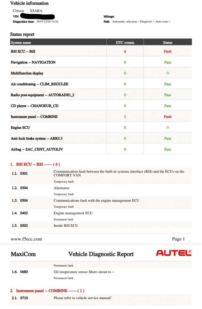 Diagnostic Consultation and Engine Carbon Clean - Citroën XsaraPicasso 2.0 HDi (2002 - 118,655 miles)